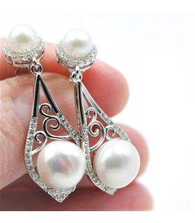 Dangle Two Pearls Silver Earrings