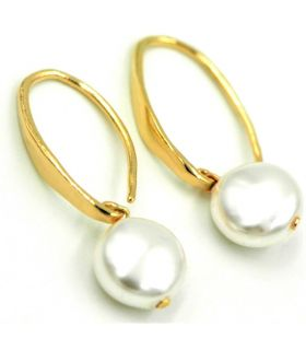 Earrings White Swarovski Pearl in Gold Plated Silver