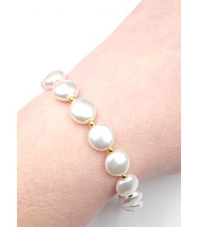 Bracelet White Swarovski Pearls in Gold Plated Silver