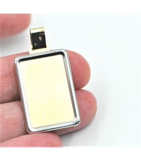Tag Pendant in Two Colour 18K Gold