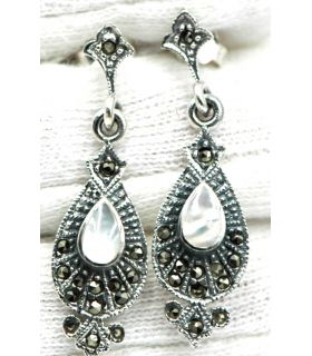 Marcasite Mother of Pearl Silver Earrings