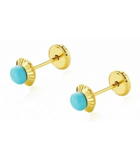 Baby Girl Gold Earrings with Turquoise Pearl