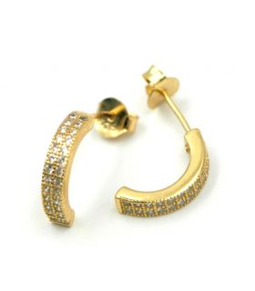 Small Gold Plated Silver Half Hoop Earrings