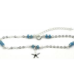 Silver Star Anklet with Blue Agate Stones
