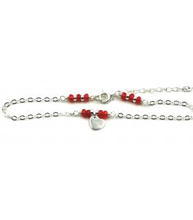 Heart Silver Anklet with Red Agate Stones