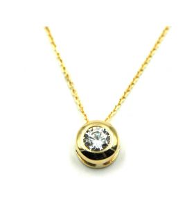 Small Round Zirconia 18K Gold Necklace