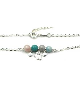 Natural stones Silver anklet with charms