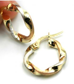 Three Colour Gold Small Hoop Earrings