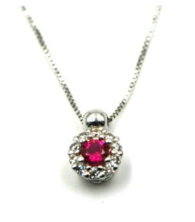 White Gold Necklace with Round Red Zirconia