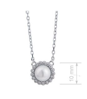 Pearl Necklace with Cubic Zirconia