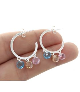 Silver Hoop Earring with Coloured Stones
