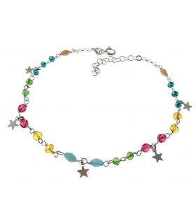 Stars & Colour Stones Silver Anklet