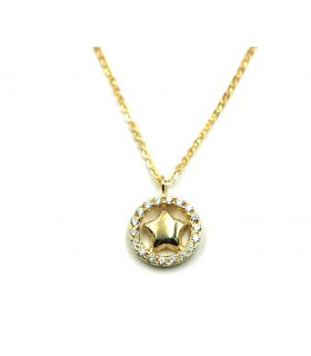 Star Circle Gold Pendant with Zirconias