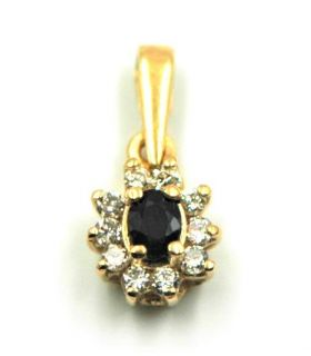 Sapphire Gold Pendant with Diamonds