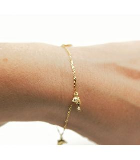 Yellow Gold Dolphins Charm Bracelet