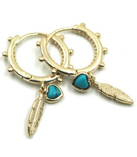 Gold Plated Silver Hoop Earrings with Feather and Turquoise
