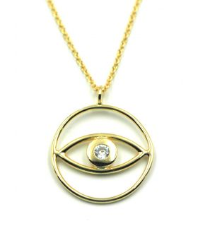 Eye Circle Pendant Necklace Gold Plated Silver