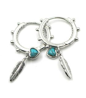 Silver Hoop Earrings with Feather and Turquoise