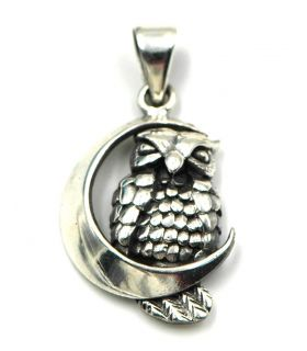 Owl Perched on Moon 925 Silver Pendant