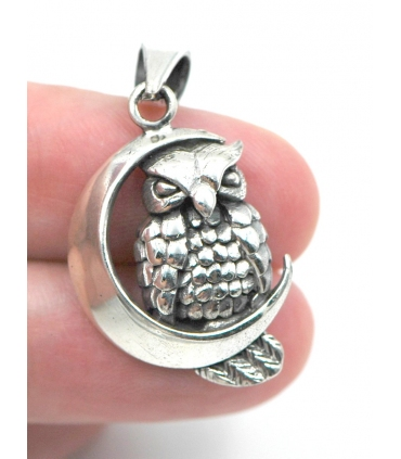Owl Perched on Moon Silver Pendant