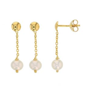Dangle Gold Earrings for Girl with Pearl
