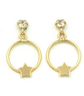 18K Gold Earrings with Hoop and Star for Girls