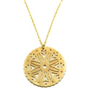 Gold Necklace with Round Engraved Pendant