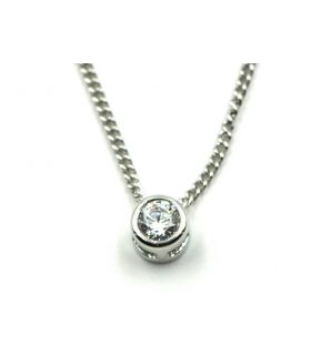 Small Round Zirconia Silver Necklace