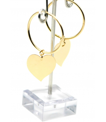 Gold plated Silver hoop earrings with charm