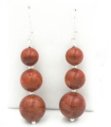 Long Coral & Silver earrings