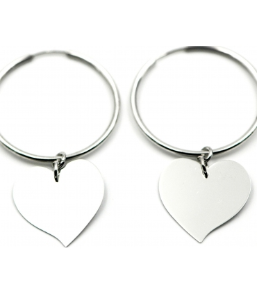 Silver hoop earrings with heart charm