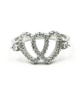 Interwoven Silver Hearts Ring