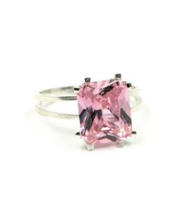 Silver Ring with Pink Square Stone
