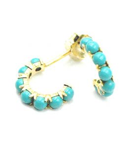 Turquoise Pearl Hoop Gold Plated Silver Earrings