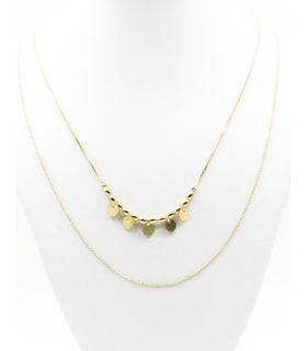 Dangling Discs Double Chain Necklace