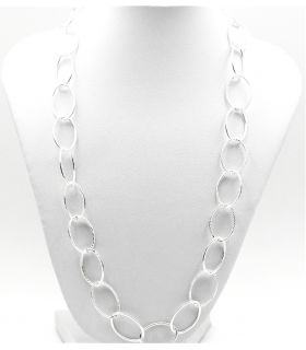 Silver Oval Link Chain Necklace