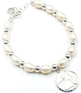 First Communion Pearls with Silver Charm Bracelet