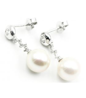 White Gold Dangling Pearl Earrings