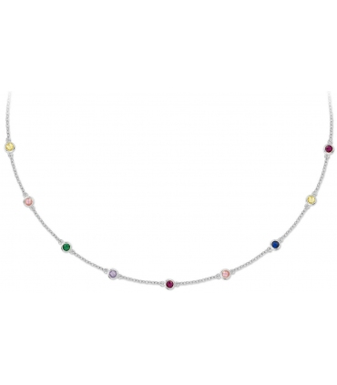 Silver Necklace Colourful Stones