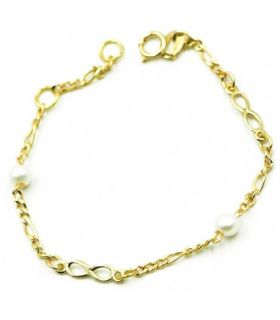 Young Girl Chain Link Bracelet Pearls