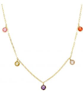 18K Gold Necklace with Colour Stones