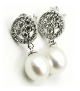 Pearl Drop White Gold Earrings