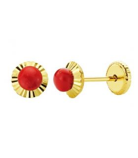 Baby Gold Earrings with Coral