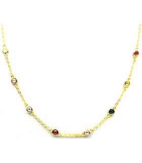 Colourful Necklace Gold Plated Silver