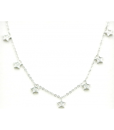 Dangle Silver Zirconia Star Necklace
