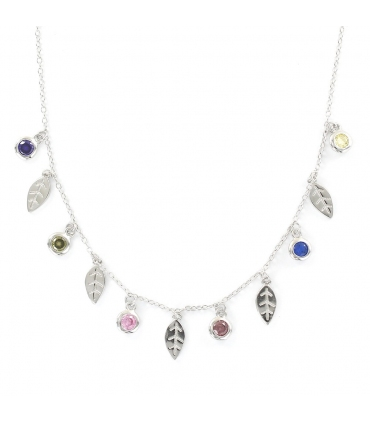 Silver Dangle Leaves and Zirconias Necklace