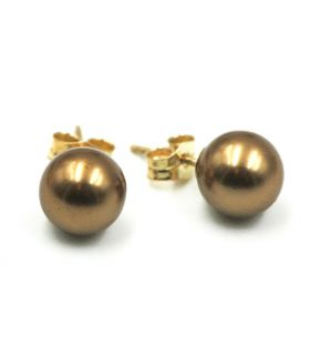 Chocolate Pearl Gold Stud Earrings