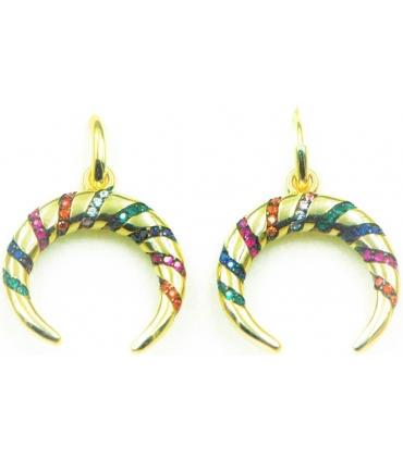 Crescent Moon Hoop Earrings Gold Plated Silver