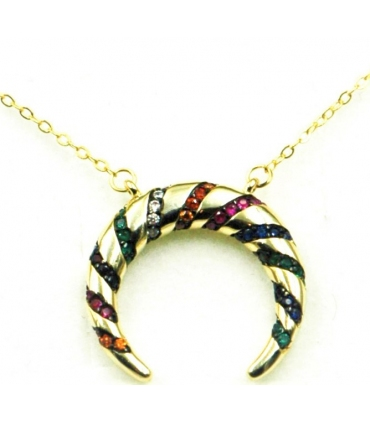 Crescent Moon Necklace Gold Plated Silver