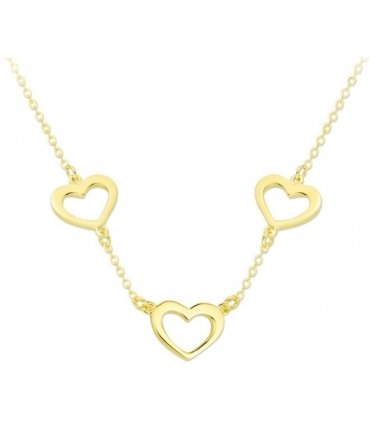 3 Hearts Necklace Gold Plated Silver